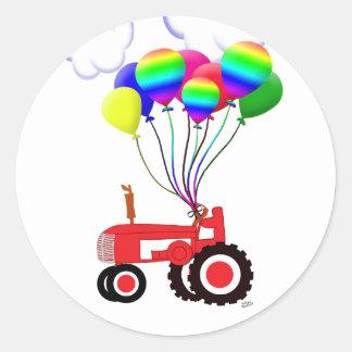 Tractor met Ballons Ronde Sticker