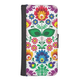 Traditioneel Pools bloemen volksborduurwerkpatroon iPhone 5 Portefeuille Hoesjes