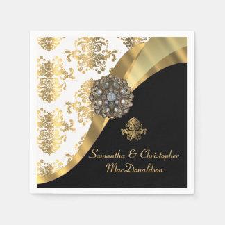 Traditioneel wit, zwart en gouden damasthuwelijk papieren servetten