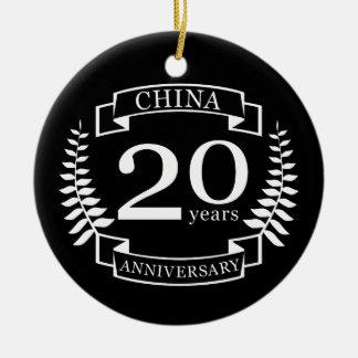 Traditionele het huwelijksverjaardag van China 20 Rond Keramisch Ornament
