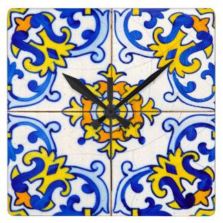 Traditionele Portugese tegel Azulejo Vierkante Klok