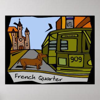 Tram van het Kwart van de tekkel de Franse Poster