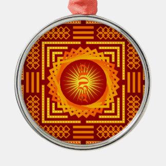 Transcendentale Wijsheid Mandala in Goud met Zilverkleurig Rond Ornament