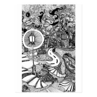 Treden onder de pen van de Lamplicht en Briefkaart