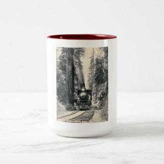 Trein, de Grote Post van de Boom, de Wijnoogst van Tweekleurige Koffiemok