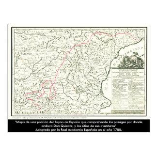 Trek de Kaart van de route van Don Quichot aan -