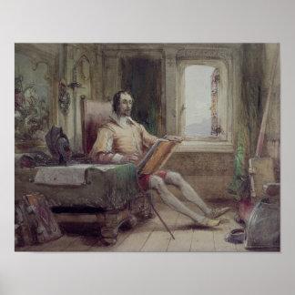 Trek Don Quichot in zijn Studie aan Poster
