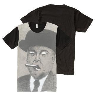 Trek Houtskool met een Zwart-witte Houtskool van All-Over-Print T-shirt