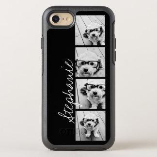 Trendy 4 Foto's en Naam - KIES ACHTERGRONDKLEUR OtterBox Symmetry iPhone 7 Hoesje