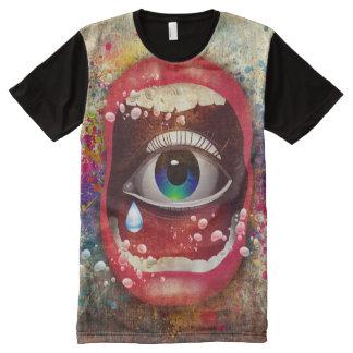 Trendy abstracte Ontwerp van het Gezicht All-Over-Print T-shirt