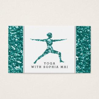 Trendy Aqua schittert de Instructeur van de Yoga Visitekaartjes