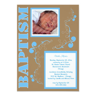 Trendy Blauw Doopsel Paisley voor de Jongen van he Gepersonaliseerde Uitnodiging