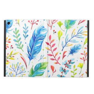 Trendy blauw-Oranje BloemenPatroon van de Veer iPad Air Hoesje
