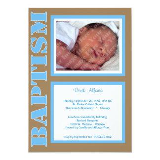 Trendy Blauwe Uitnodiging van het Doopsel voor de 12,7x17,8 Uitnodiging Kaart