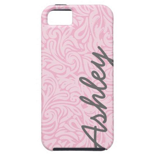 Trendy BloemenPatroon met naam - roze en grijs iPhone 5 Cases