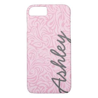 Trendy BloemenPatroon met naam - roze en grijs iPhone 7 Hoesje