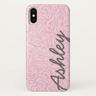 Trendy BloemenPatroon met naam - roze en grijs iPhone X Hoesje