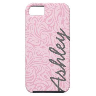 Trendy BloemenPatroon met naam - roze en grijs Tough iPhone 5 Hoesje
