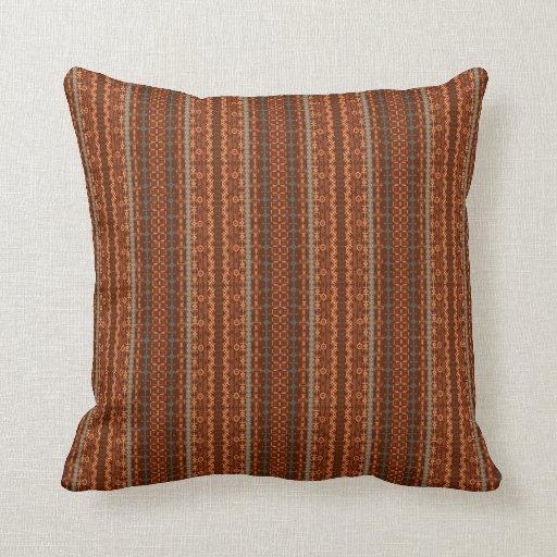 Trendy bruine en oranje chevron aztec lounge kussens zazzle - Kussen oranje en bruin ...
