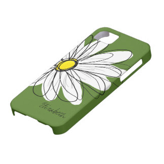 Trendy Daisy Floral Illustration - groene geel Barely There iPhone 5 Hoesje