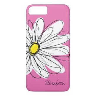 Trendy Daisy Floral Illustration - roze geel iPhone 8/7 Plus Hoesje
