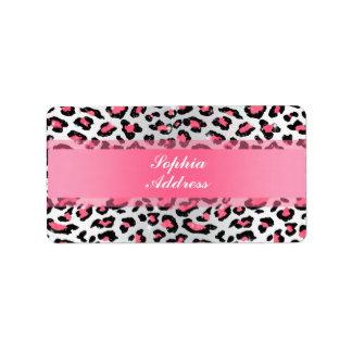 trendy dierlijke druk van de kauwgom roze luipaard etiket