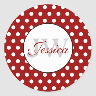 Trendy Donkerrood en Wit stippenMonogram Ronde Sticker