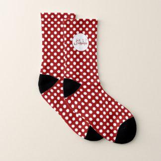 Trendy Donkerrood en Wit stippenMonogram Sokken