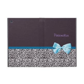 Trendy Druk van de Luipaard en Blauw Lint met Naam iPad Mini Hoesje