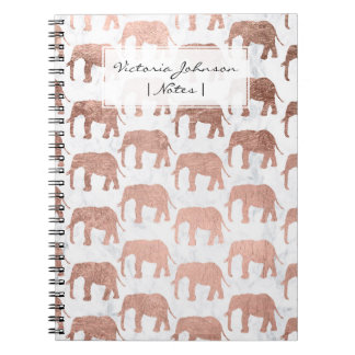 Trendy faux nam gouden olifanten wit marmer toe ringband notitieboek