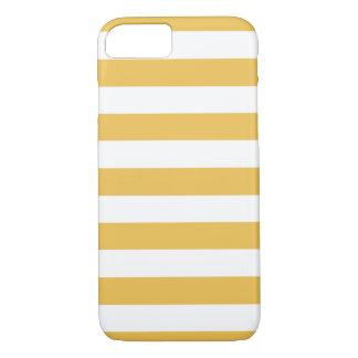 Trendy Gele en Witte Brede Horizontale Strepen iPhone 7 Hoesje