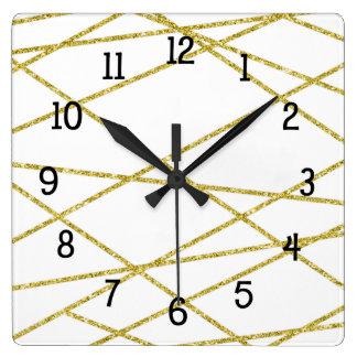 Trendy Geometrisch gouden en wit decor Vierkante Klok