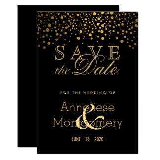 Trendy Gouden Stip op Zwarte - sparen de Datum Kaart