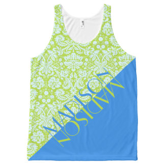 Trendy Groenachtig blauwe Limoen van de Mode van All-Over-Print Tank Top