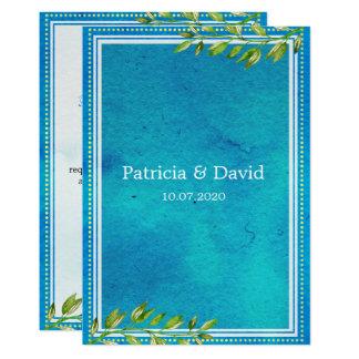 Trendy Groene Huwelijk van de Waterverf van 12,7x17,8 Uitnodiging Kaart