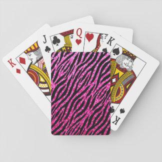 Trendy Hete Roze Gestreepte Druk Glitz schittert Speelkaarten