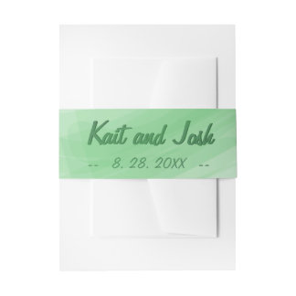 Trendy Minimalistische Elegante Groene Huwelijk Uitnodigingen Wikkel