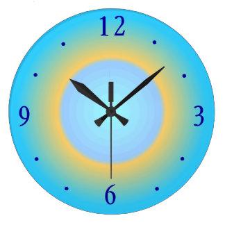 Trendy Moderne Klok van de Muur Aqua Blauwe Yellow