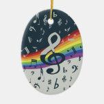 Trendy muzieknoten op regenboog kerst ornamenten
