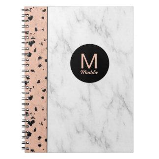 Trendy nam Goud en Marmer met Monogram toe Ringband Notitieboek
