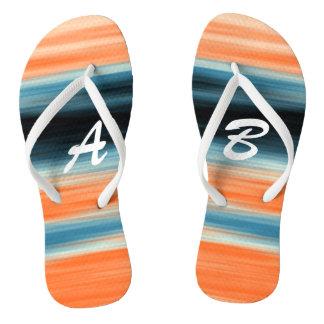 Trendy Oranje Blauwe Strepen met monogram Teenslippers