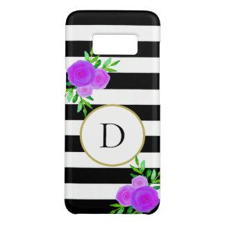 Trendy Paarse Bloemen Zwarte Witte Gestreept van Case-Mate Samsung Galaxy S8 Hoesje