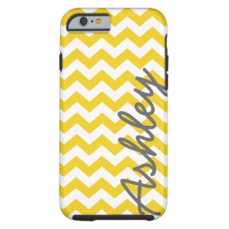 Trendy Patroon van de Chevron met naam - gele Tough iPhone 6 Hoesje