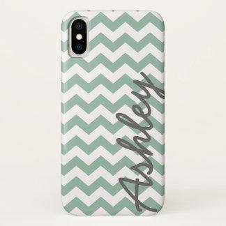 Trendy Patroon van de Chevron met naam - grijze iPhone X Hoesje