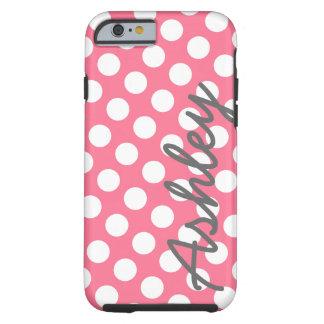 Trendy Patroon van de Stip met naam - roze grijs Tough iPhone 6 Hoesje