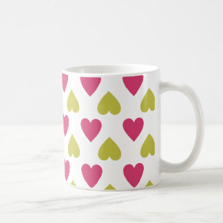 Trendy Patroon | van het Hart Leuke Roze en Groene Koffiemok