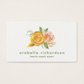 Trendy Perzik en Gouden Waterverf Bloemen Visitekaartjes