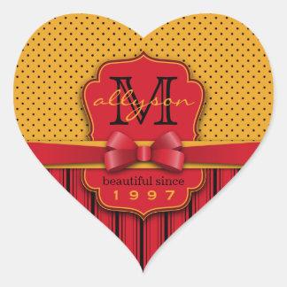 Trendy Rode Strepen van de Stip van het Monogram Hart Sticker