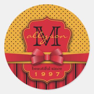 Trendy Rode Strepen van de Stip van het Monogram Ronde Sticker