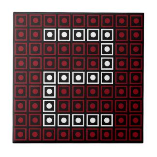 Trendy Rode, Witte & Zwarte LEIDEN met 8 bits Keramisch Tegeltje